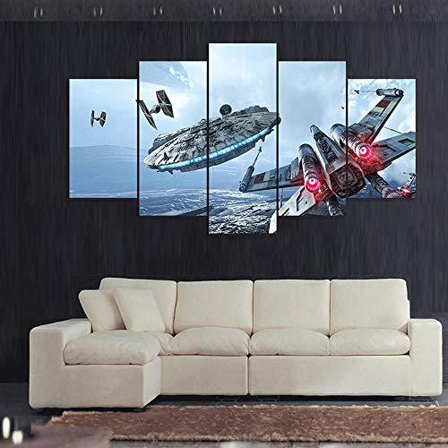Hgjfg Cuadro Moderno En Lienzo 5 Piezas Xxl Millennium Falcon Star Wars Película Hd Abstracta Pared Imágenes Modulares Sala De Estar Dormitorios Decoración Para El Hogar 150X80Cm
