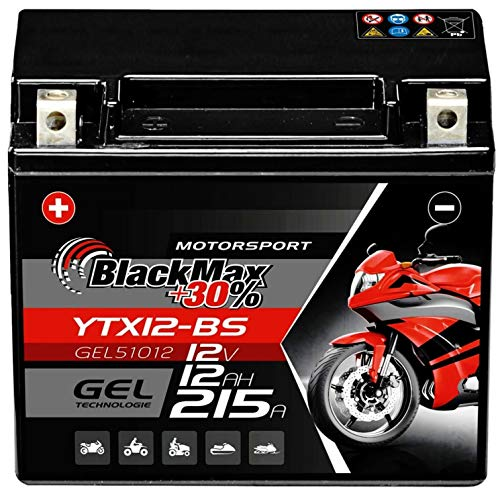 BlackMax YTX12-BS Motorradbatterie GEL 12V 12Ah CTX12-BS Batterie 51012 Quad