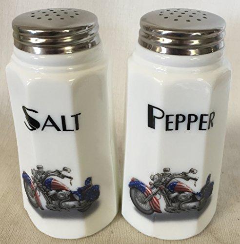 Salt & Pepper Shaker Set - Paneled Pattern - Milk Glass - Mosser Glass - American Made - Motorcycles - Harley Davidson