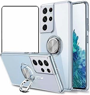جراب Doao Oppo Reno6 5G، جراب واقٍ بمسند دائري 360 درجة، مع واقي شاشة من الزجاج المقوى لهاتف Oppo Reno6 5G - أبيض