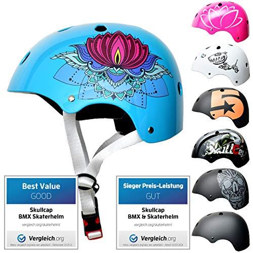 SkullCap® Skaterhelm Kinder Türkis Lotus - Fahrradhelm Mädchen ab 6 Jahre Größe 53-55 cm - Scoot and Ride Helmet Kids - Skater Helm für BMX Scooter Inliner Fahrrad Skateboard Laufrad