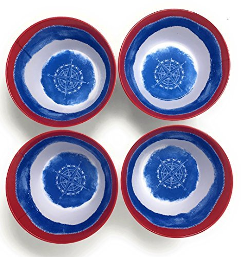Nantucket Home Nautical Navy Compass Red Rimmed Melamine Salad Bowls, Set of 4