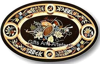 Table de salle à manger ovale en marbre marbre avec motif unique et incrusté de cottage indien Art&Crafts 30 x 48 pouces
