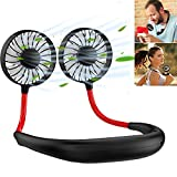 RFV1(tm) Portable Hand Free Fan,Neck-Hanging Double Fan USB Rechargeable Neckband Fan 3 Speeds