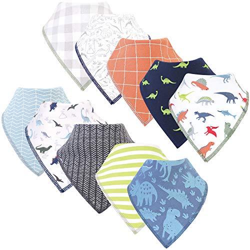 Hudson Baby Unisex Baby Cotton Fleece Bandana Bibs, Dino, One Size