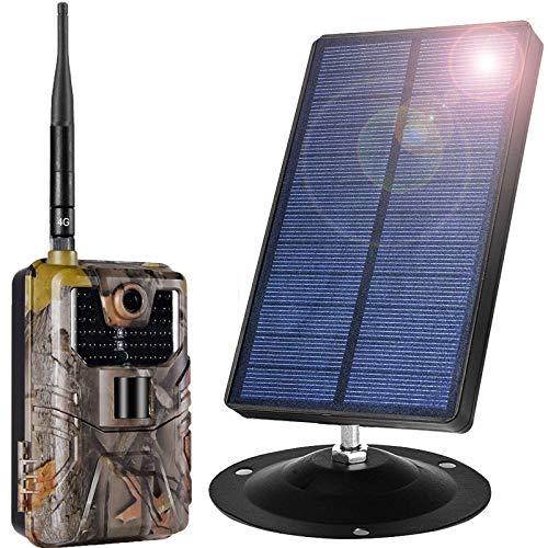 Panel Solar Portátil con Cámara De Caza Vigilancia 4K De Visión Nocturna 98 Ft / 20 M 0,2 S Velocidad De Disparo IP66 Impermeable para Vida Silvestre Al Aire Libre, Jardín