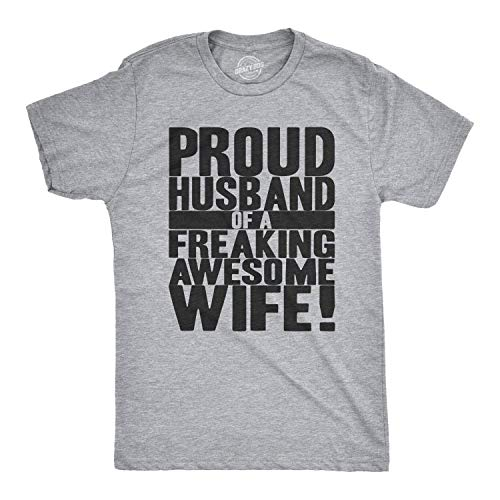 Crazy Dog T-Shirts Mens Proud Husband of a Freaking Awesome Wife Funny Valentines Day T Shirt (Light Heather Grey) - 3XL