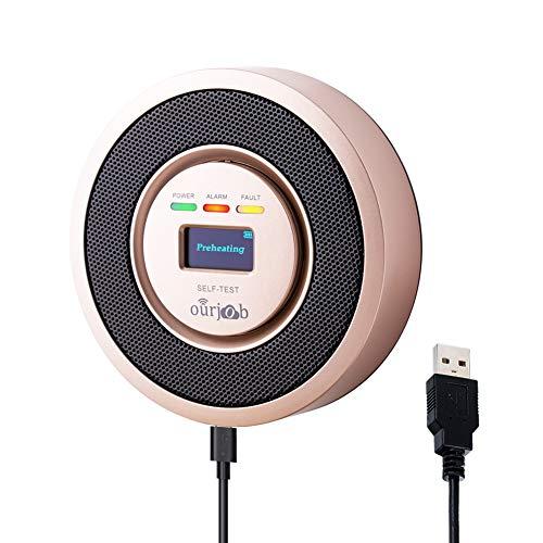 Alarma de Gas, Detector de Gas LPG/natural/ciudad, Alimentado por USB Sensor De Fugas De Gas Combustible Butano/Propano/Metano, con Advertencia de Sonido y Pantalla digital (Champán, Batería Incluida)
