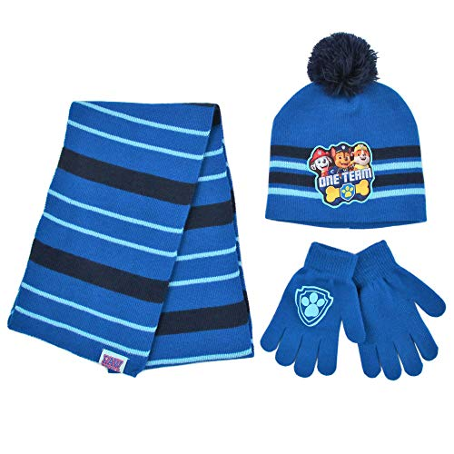 Nickelodeon Paw Patrol Scarf, Hat Mitten Toddler and Little Boys, Blue/Black, Glove Set, Age 4-7