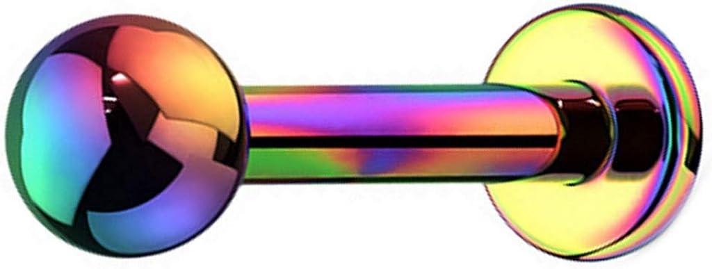 BODY DAZZ 16G PVD Plated Grade 23 Titanium Ball Top Labret Monroe Piercing Stud