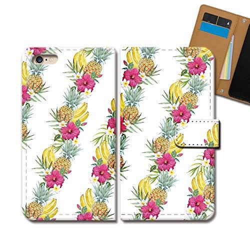 らくらくスマートフォン F-42A ケース 手帳型 食べ物 手帳ケース スマホケース カバー フルーツ 果物 スイカ パイン バナナ E0348020113203
