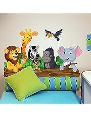 R00145 Pegatinas de Pared Elefante León Jirafa Decoración Habitación Infantil Kindergarten Nido Dormitorio - Papel Pintado Adhesivo Efecto Tela