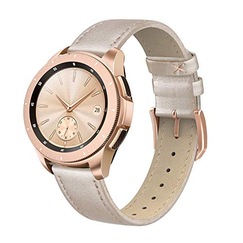 SWEES Genuine Leather Band Compatible for Galaxy Watch 42mm / Galaxy Watch 3 41mm / Galaxy Watch Active 40mm / Active 2 44mm, 20mm Leather Slim Thin Replacement Bands for Women Men, Champagne