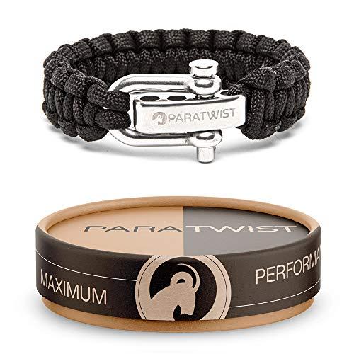 Crintiff - Bracelet en paracorde tressé avec fermoir ajustable en acier inoxydable - Collection fault-block - Couleur noir
