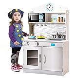 GIANTEX - Cucina per Bambini in Legno Cucina Giocattolo Divertimento con Accessori Padella, Rubinetto e Lavabo, Forno a microonde, 94 x 30 x 60 cm