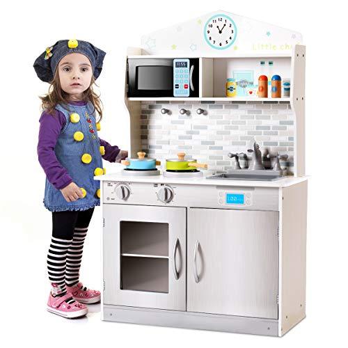 GIANTEX - Cocina para niños de madera, juguete divertido con accesorios, sartén, grifo y lavabo, horno microondas, 94 x 30 x 60 cm