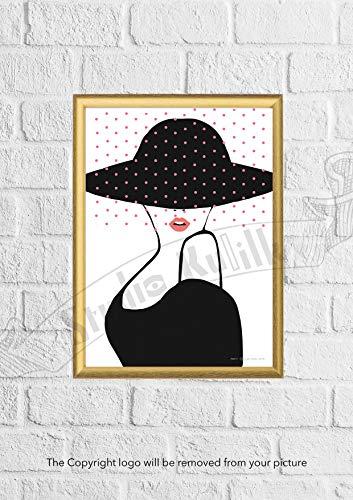 Studio Kulilk Vrouwen in Zwart   Tekenen op papier   Muurdecoratie A4-formaat papieren print   Decor kamer interieur   Wandillustratie