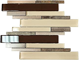 Slate Brown Beige Aliminum Stone Glass Mosaic Tile Random Z Pattern for Bathroom and Kitchen Walls Kitchen Backsplashes By Vogue Tile