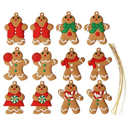 ifundom 12 Piezas Adornos Navideños de Hombre de Jengibre con Cuerda Árbol de Navidad Decoración Colgante Adornos Navideños Rústicos para Chimenea de Ventana