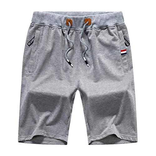 Whittie Pantalones Cortos De Verano para Niños Pantalones De Cinco Puntos Pantalones Cortos De Algodón Cómodos Ocasionales Pantalones De Playa con Bolsillo con Cremallera,Light-Grey,XL