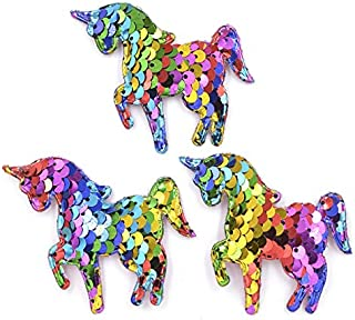 16Pcs Glitter Colorful Sequins Appliques Padded Patches for Clothes Sew On Cloth Stickers Decoration Accessories 65mm zhen...
