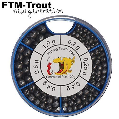 FTM Schrotblei fein - 120g Klemmbleie zum Stippfischen & Forellenangeln, Bleie für Posenmontagen, Angelbleie für Posen