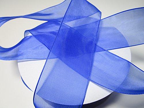 CaPiSo 50m Organza 40mm Breite 4cm Organzaband Schleifenband Geschenkband Organza (Blau)