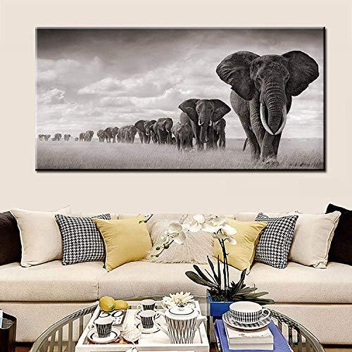 Refosian negro África elefantes animales salvajes lienzo pintura escandinavia carteles e impresiones cuadros de arte de pared para sala de estar 75x150cm sin marco