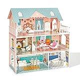 robud casa delle bambole in legno per bambini ragazze giocattolo regalo per 3 4 5 6 anni bambola mobili blu