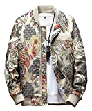 SCOFEEL Men's Embroidered Jacket Zip Up Flight Bomber Coat