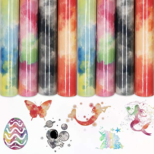 "Rainbow HTV 4 Sheets Pack 12""x8.2"" Tie dye Iron On Vinyl for T-Shirt, Fabric, Compatible with Cricut, Cameo Reflective Clouds Watercolor HTV Bundle DIY T-Shirt"