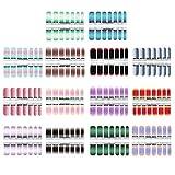 Minkissy 14 Feuilles Glitter Nail Wraps Full Nail Art Polonais Autocollants Gradient Color Shine Nail Wrap Autocollants Adhésifs Nail Decals Faux Ongles Glitter Manucure Kit (Couleur Mélangée)