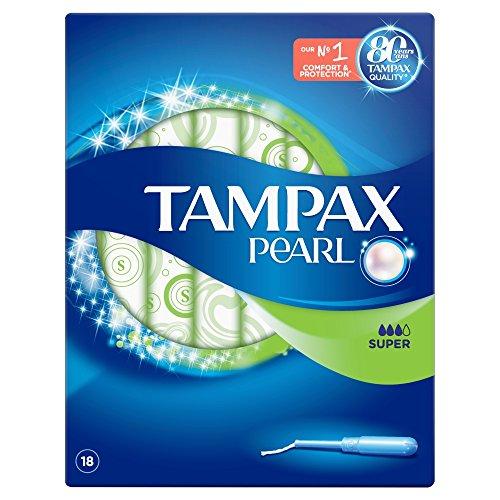 Tampax Pearl Super aplicador tampones, pack de 4, 18-count