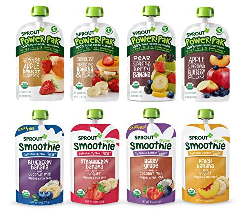 Sprout Organic Baby Food Toddler Pouches Stage 4, Variety Sampler, 8 Flavors, 4 Pouches, Smoothie and Power Pack Variety Sampler, 48 Oz