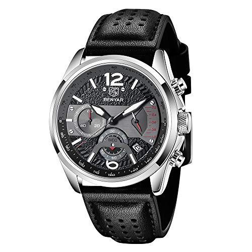 Herren Uhr BENYAR Sport Chronograph Herrenuhr schwarzes Zifferblatt Quarzwerk Lederarmband 30M wasserdichtes Herrengeschenk Uhren für Männer