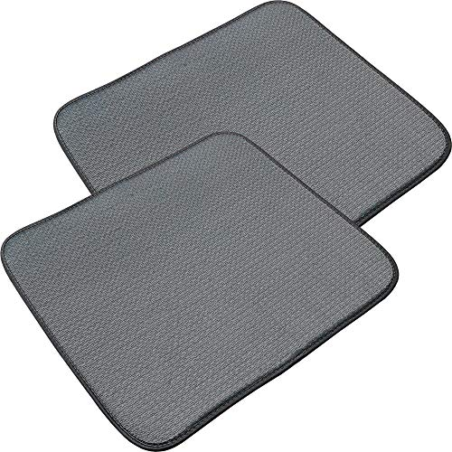 DECTRII Dish Drying Mats for Kitchen, 2 Pack Microfiber Dish Drying Rack Pad, Kitchen Counter Mat - 18X16 Inch(Grey, 2 Pack)
