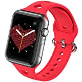 Silicone Smartwatch Bands Compatible with Apple Watch Bands 38mm 40mm for Women Men,Soft Durable Sport Band Replacement Wrist Strap with Air Holes for iWatch SE Series 6 5 4 3 2 1