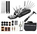 Xndryan Kit de réparation de pneus de vélo multifonction 16 en 1 avec kit de patchs et leviers de pneus, kit de réparation de pneus portable pour les voyages, le camping en plein air