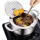 xianghaoshun Mini Pan de Freidora Profundo, Tempura Fryer Sartén 304 Acero Inoxidable Pote de Freidora Profundo con...