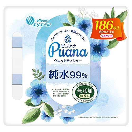 大王製紙 エリエール ピュアナ Puana 純水99% ウェットティシュー 詰替用 186枚 3コ入り