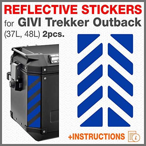2pcs Adhesivos Reflectantes para GIVI Trekker Outback 37L 48L Bolsas Laterales (Azul)