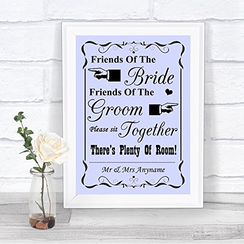 Lilac Friends of The Bride, Friends of Groom Wedding Seating Wedding Sign