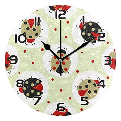 COZYhome - Reloj de pared moderno con 2 animales de mariquita, diseño de lunares, redondo, silencioso, no hace tictac, funciona con pilas, para sala de estar, dormitorio, cocina, oficina, escuela
