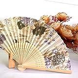 ACEHE Abanico portátil japonés de mano plegable Nº 8 hermoso ventilador de satén color...