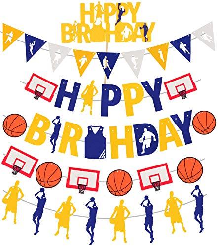 Basketball Theme Happy Birthday Banners | Cute Happy Birthday Basketball Banners for boys | Basketball Theme Party Decorations | Happy Birthday Bunting Sign Garland | Sports Theme Birthday