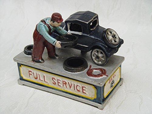 Spardose Sparbüchse Sparen Nostalgie Vintage Motiv:Mechaniker/Auto Gußeisen 17,5x15cm