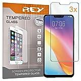 REY 3X Protector de Pantalla para Vivo X21 / Vivo V9, Cristal Vidrio Templado Premium