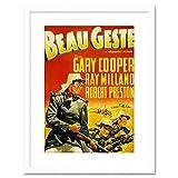Wee Blue Coo Movie Film Beau GESTE Cooper French Foreign Legion Hero Framed Print F97X4104 Decoración de la Pared del Cartel Enmarcado impresión 9x7 Pulgadas