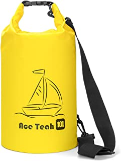 Ace Teah Waterproof Dry Bag, 10L Roll Top Dry Sack Keep Gear Dry for Kayaking, Rafting, Boating, Swimming, Fishing, Camping, Hiking, Beach - Yellow