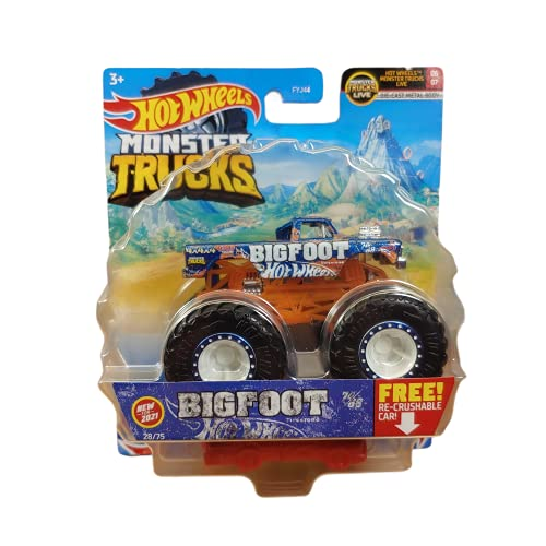 Hot Wheels Monster Trucks 2021 #28/75, Live Series #6/7, Bigfoot with Re-Crushable Car